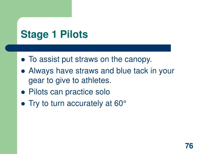 Stage 1 Pilots