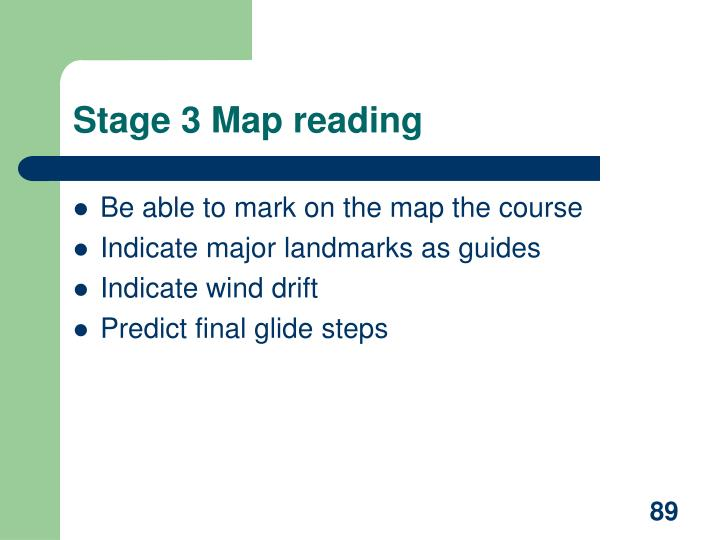 Stage 3 Map reading