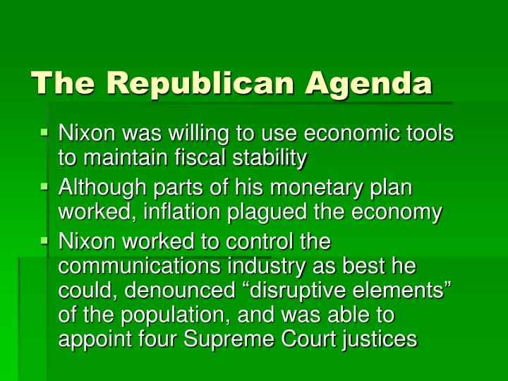 The republican agenda