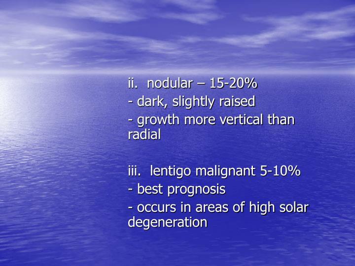ii.  nodular – 15-20%