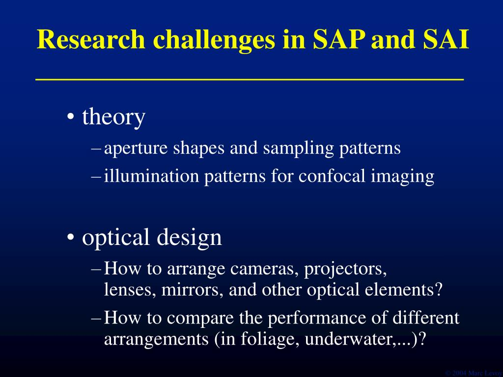 Research challenges in SAP and SAI