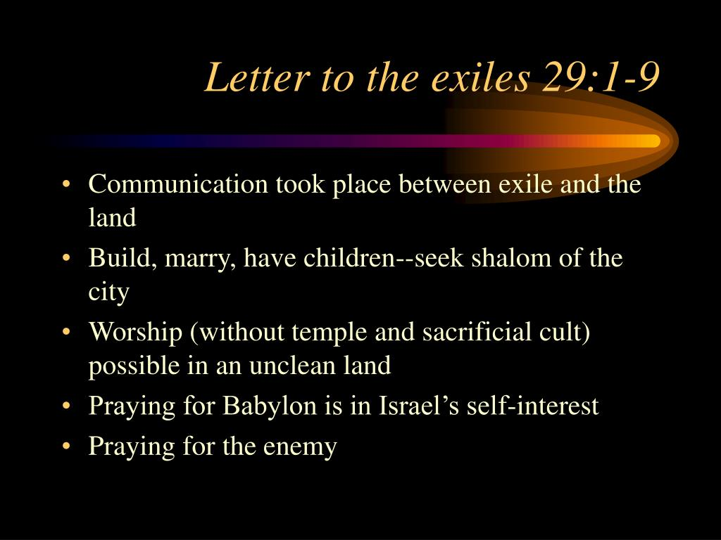 Letter to the exiles 29:1-9