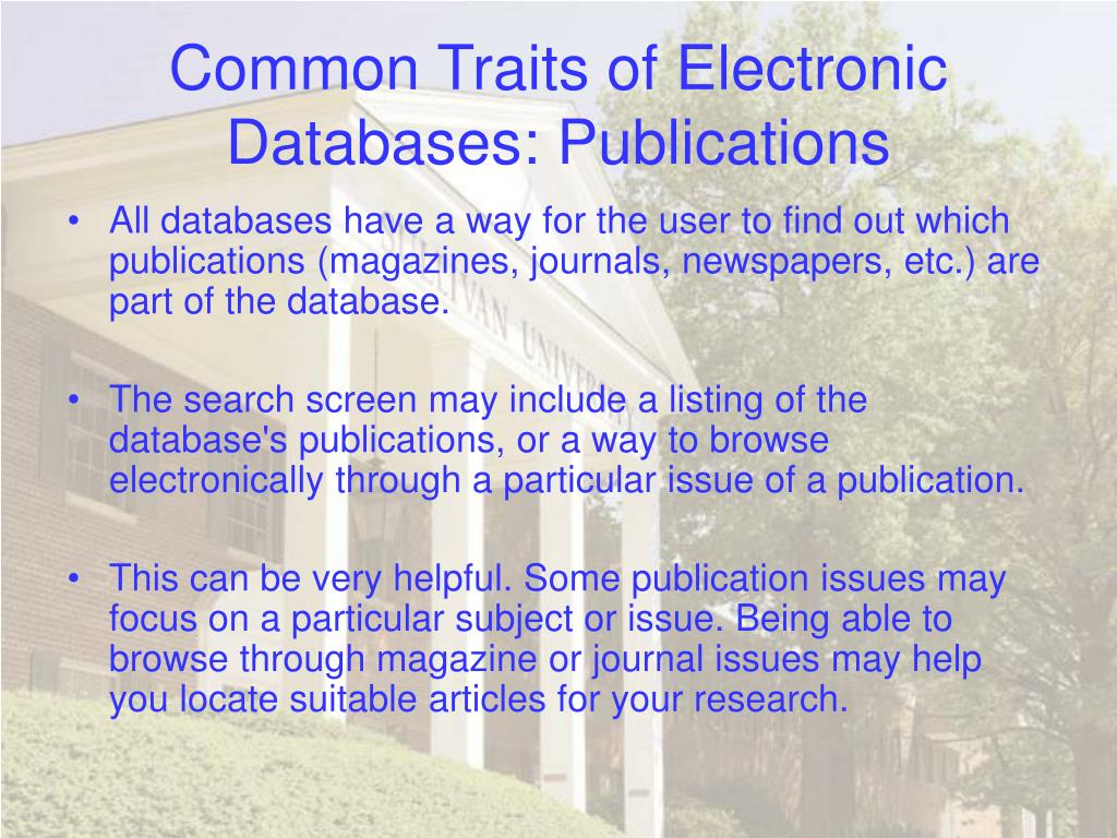 Common Traits of Electronic Databases: Publications