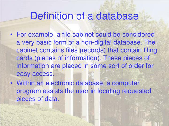 Definition of a database3