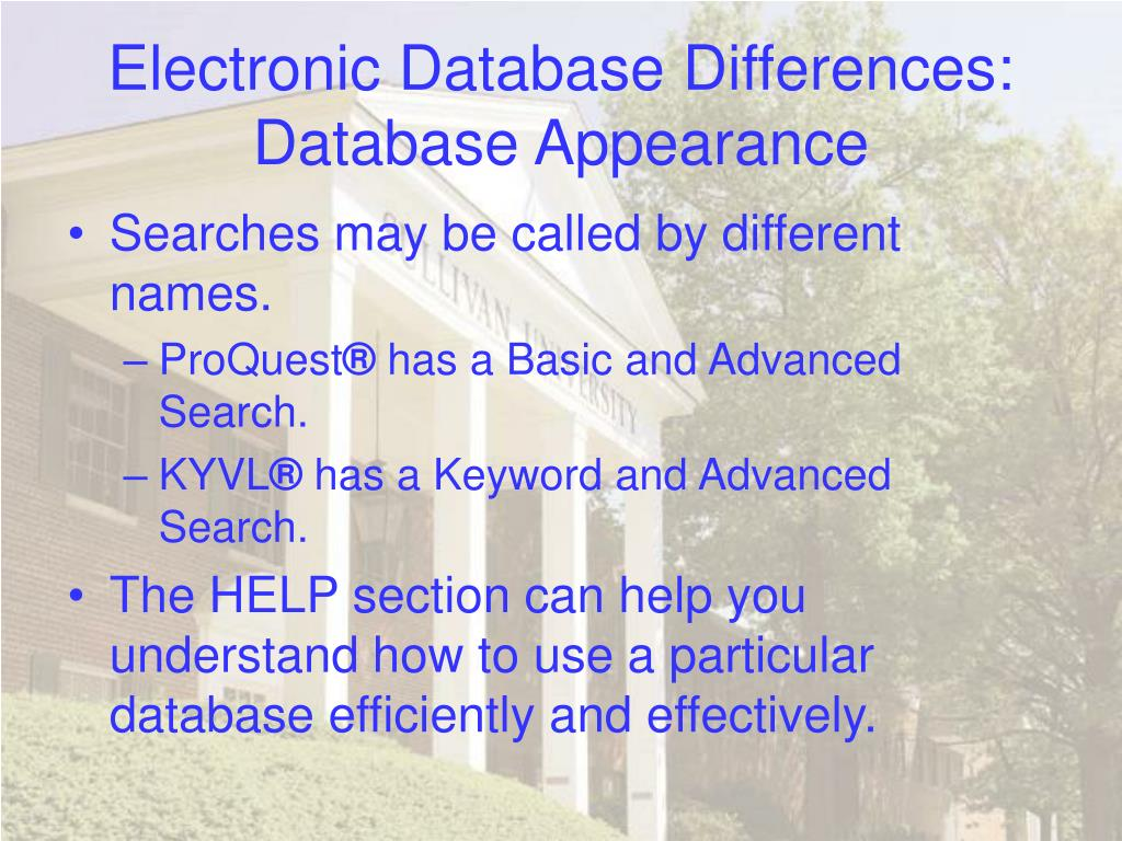 Electronic Database Differences: