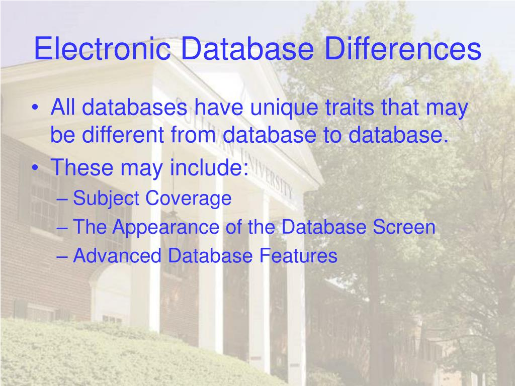 Electronic Database Differences