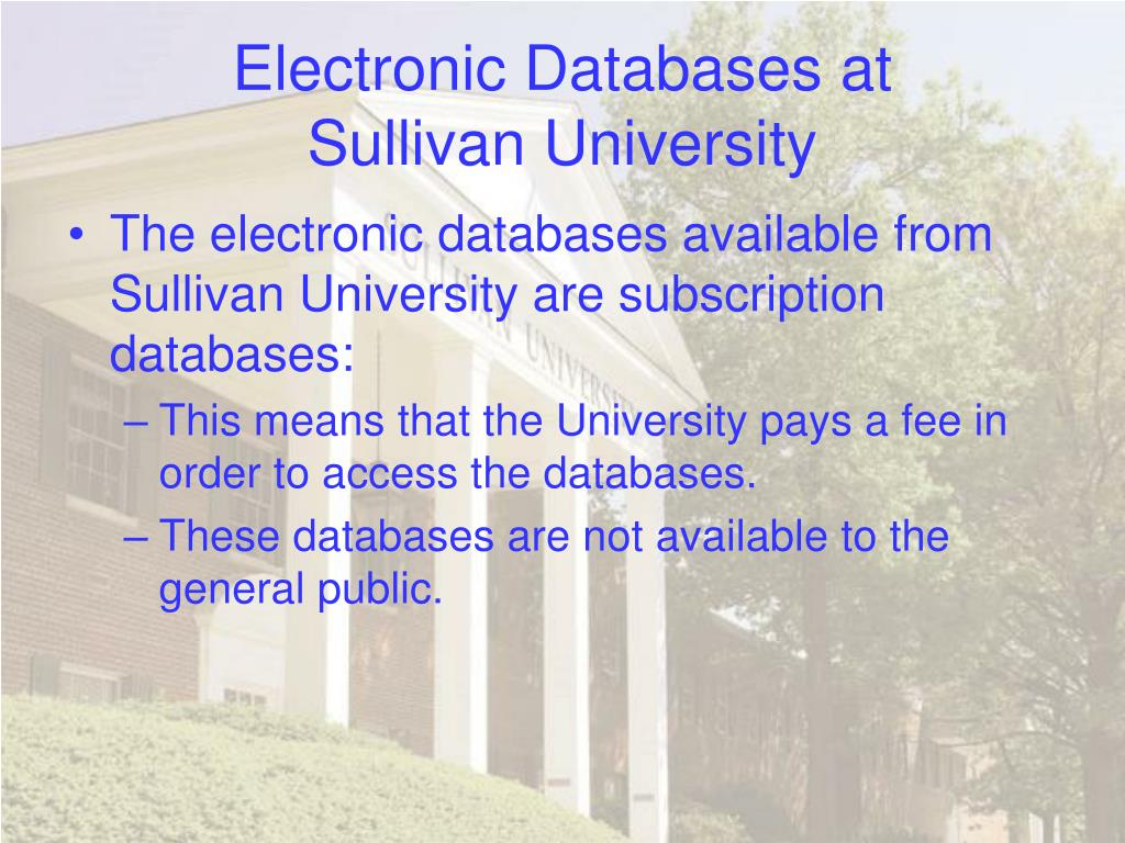 Electronic Databases at