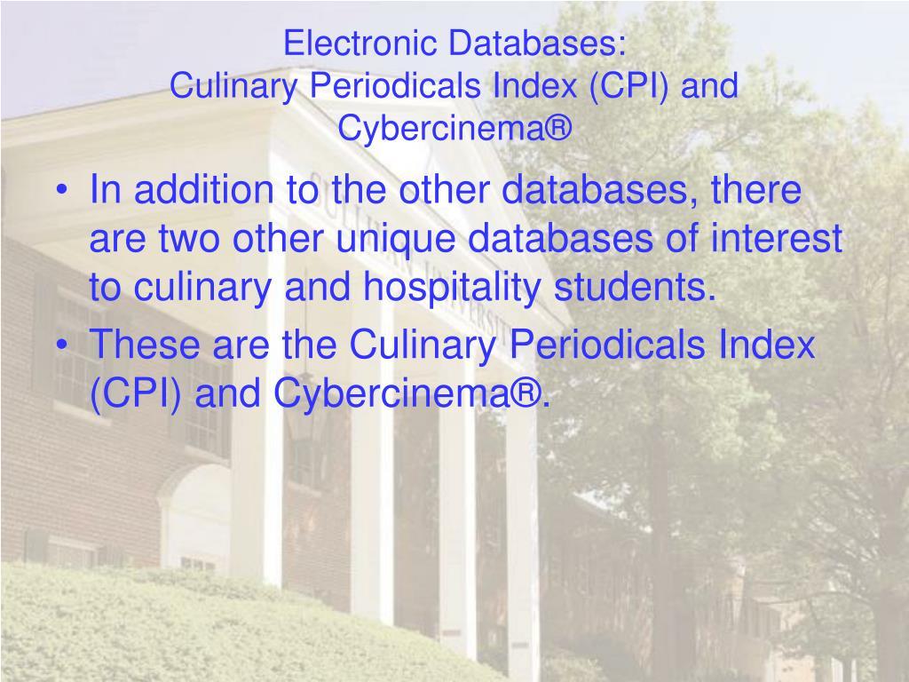 Electronic Databases: