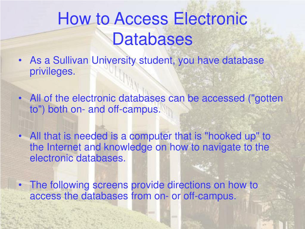 How to Access Electronic Databases