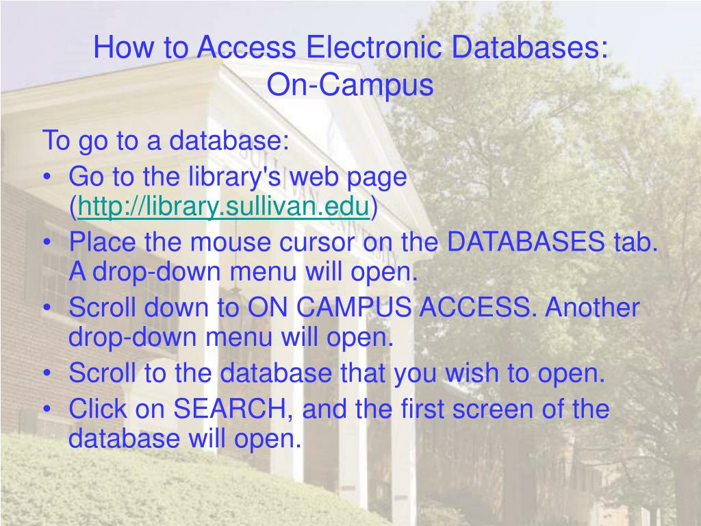 How to Access Electronic Databases: