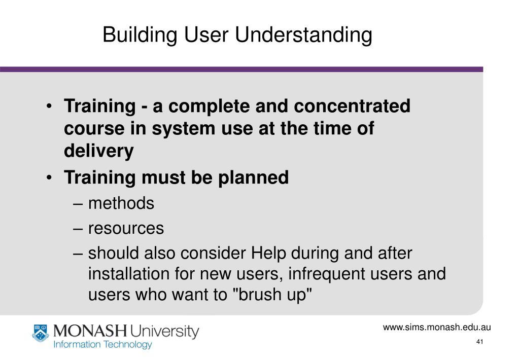 Building User Understanding