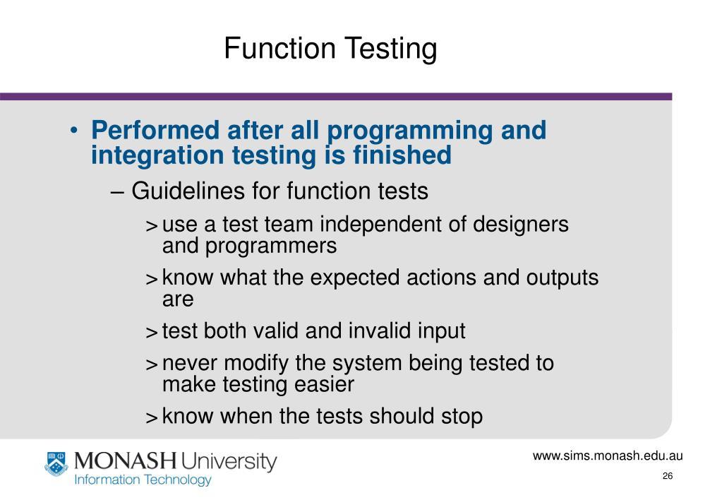 Function Testing