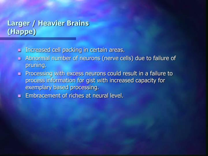 Larger / Heavier Brains