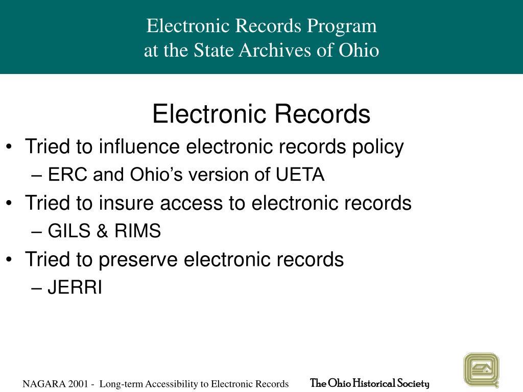 Electronic Records Program