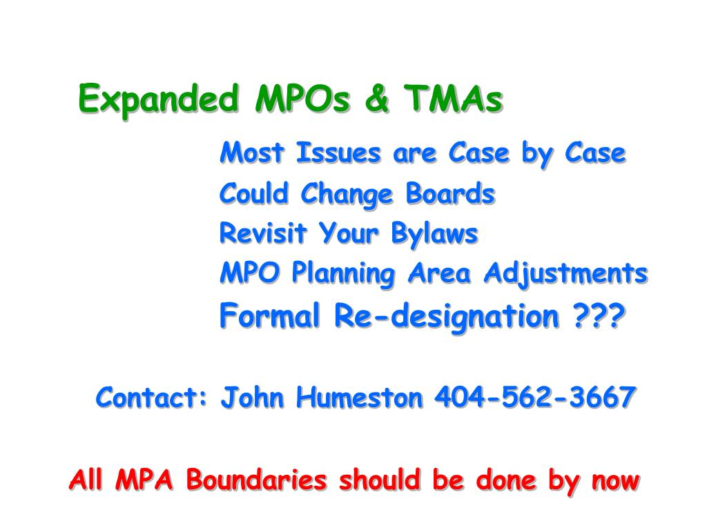 Expanded MPOs & TMAs