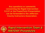 rapid intervention team mayday procedures64