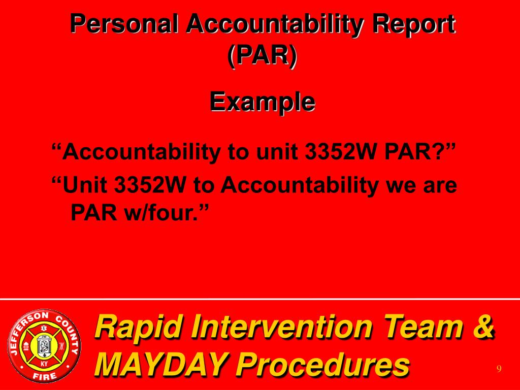 Personal Accountability Report (PAR)