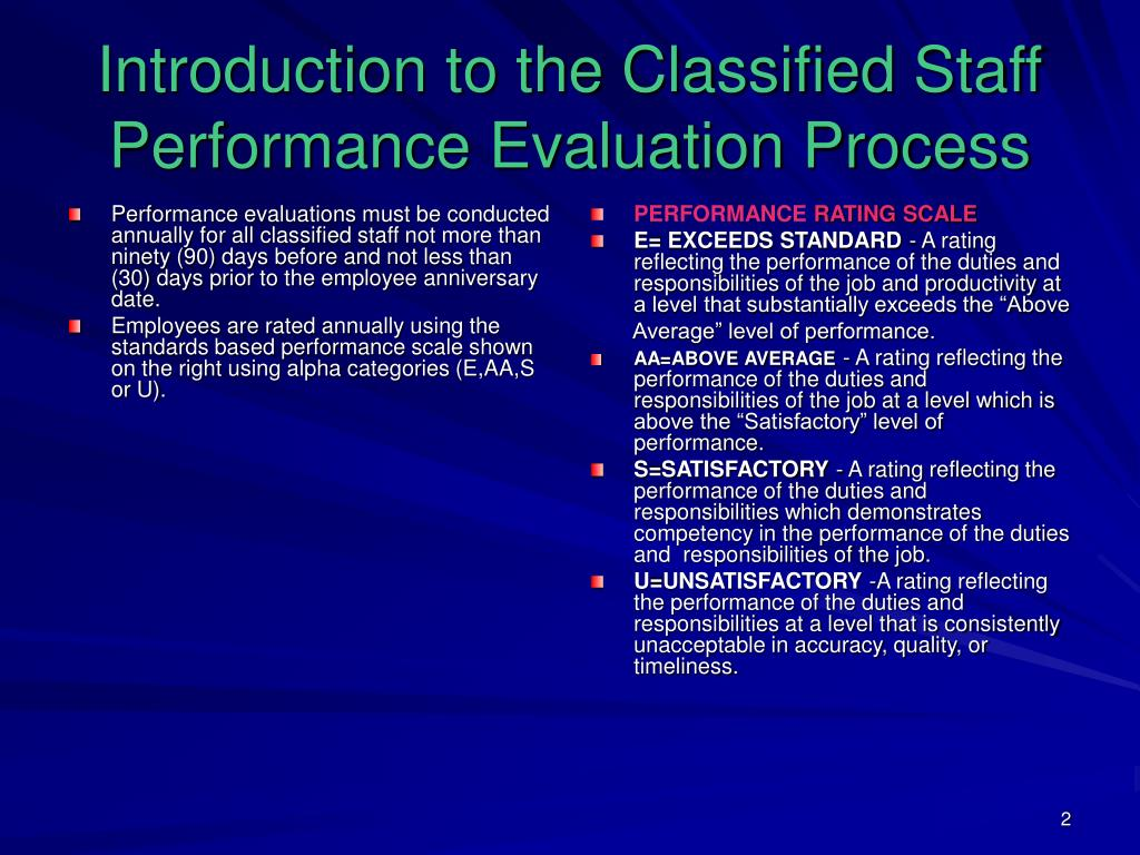Performance evaluations must be conducted annually for all classified staff not more than ninety (90) days before and not less than (30) days prior to the employee anniversary date.