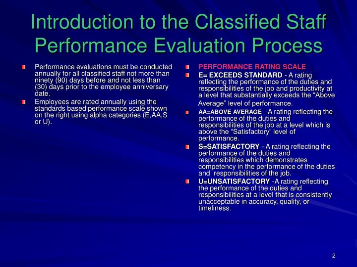 Introduction to the classified staff performance evaluation process