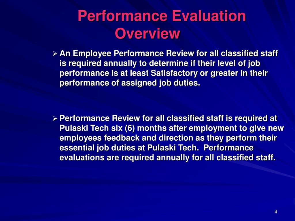 Performance Evaluation Overview