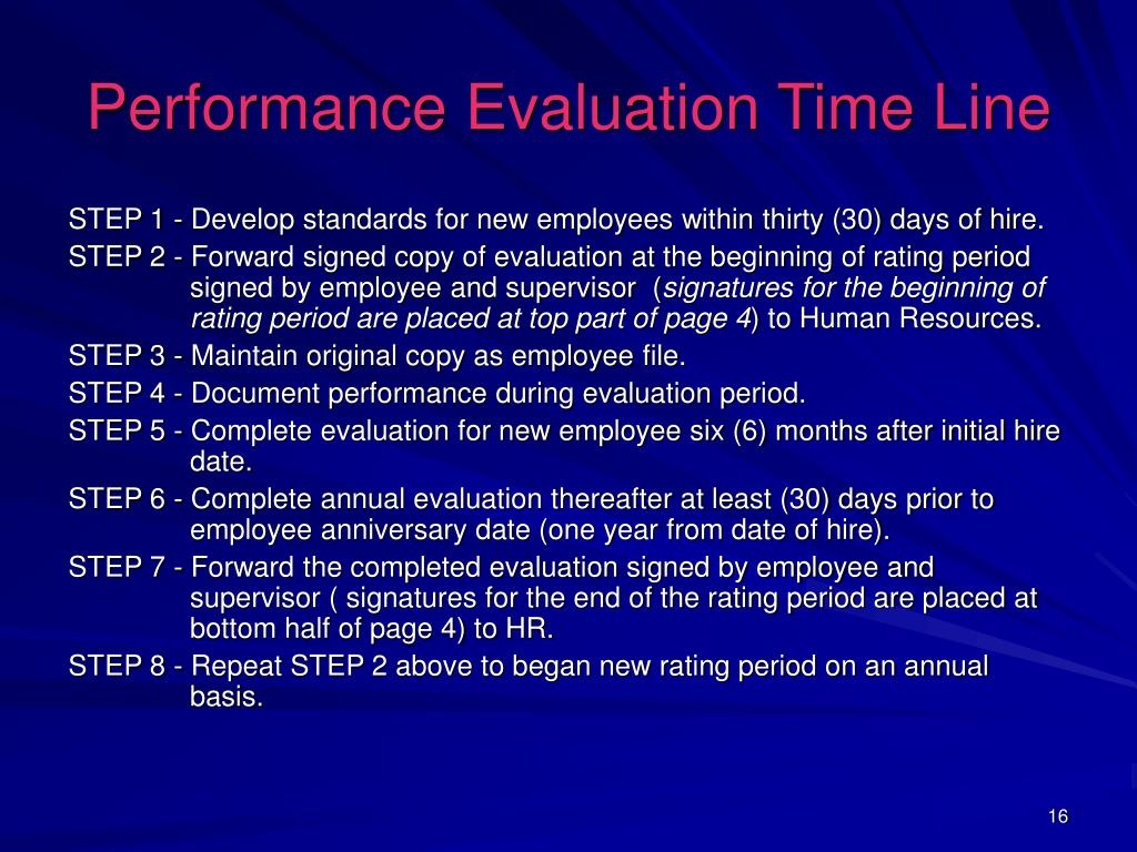 Performance Evaluation Time Line