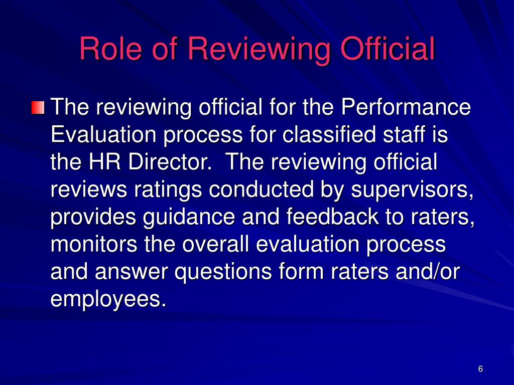 Role of Reviewing Official
