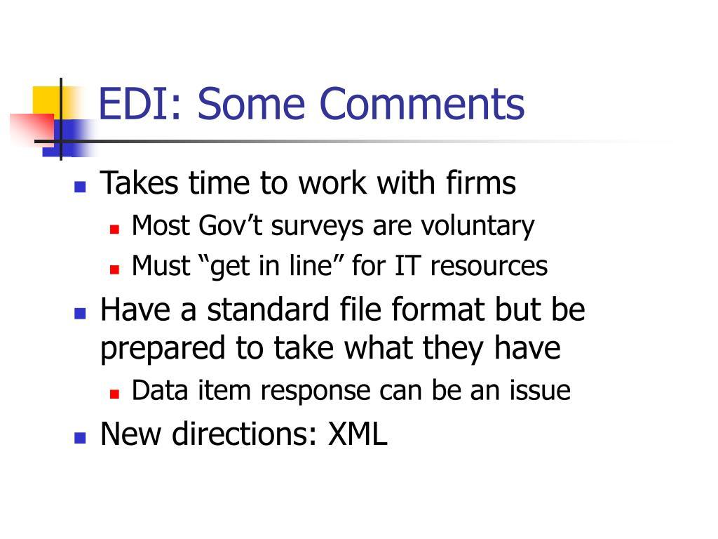 EDI: Some Comments