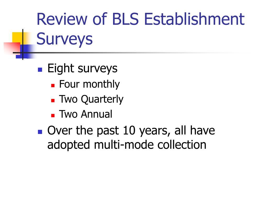 Review of BLS Establishment Surveys