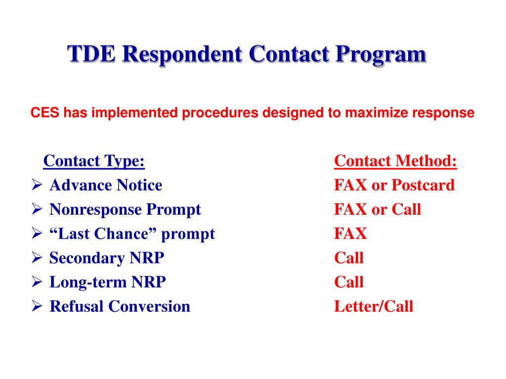 TDE Respondent Contact Program