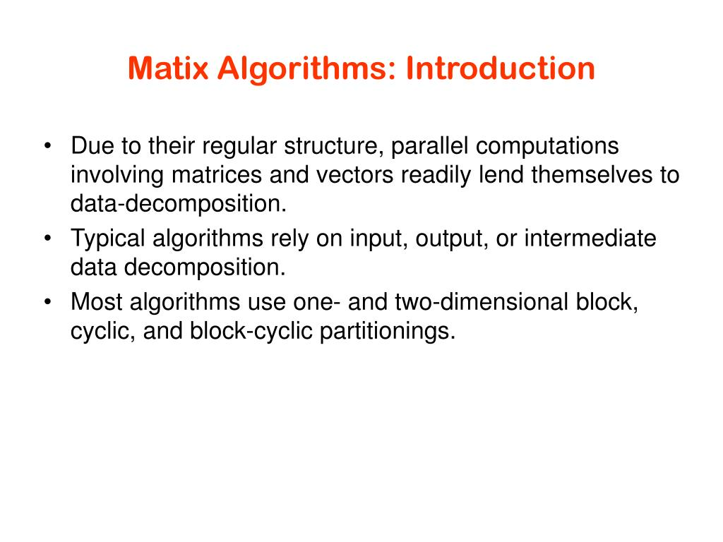 Matix Algorithms: Introduction