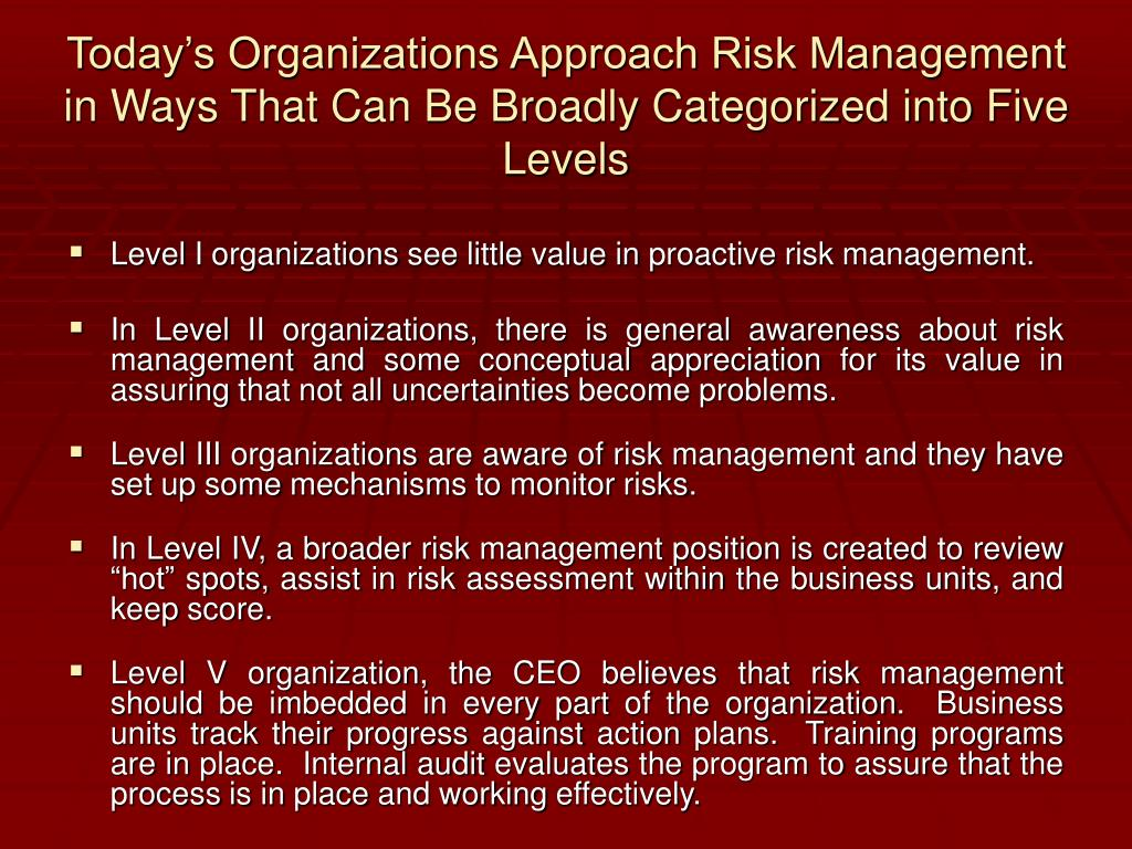 Today's Organizations Approach Risk Management in Ways That Can Be Broadly Categorized into Five Levels