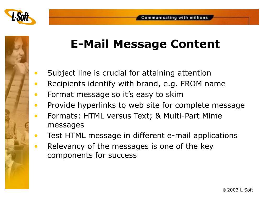 E-Mail Message Content