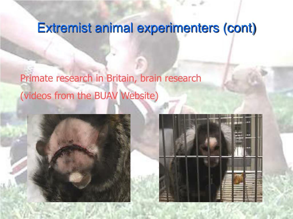 Extremist animal experimenters (cont)