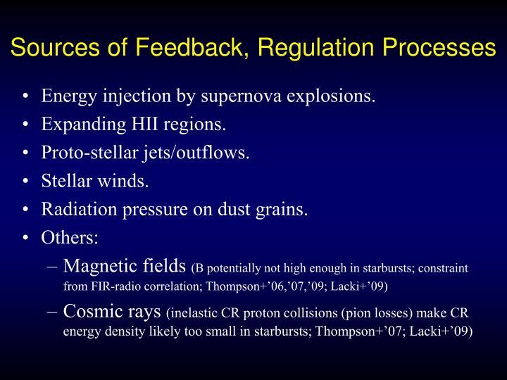 Sources of Feedback, Regulation Processes