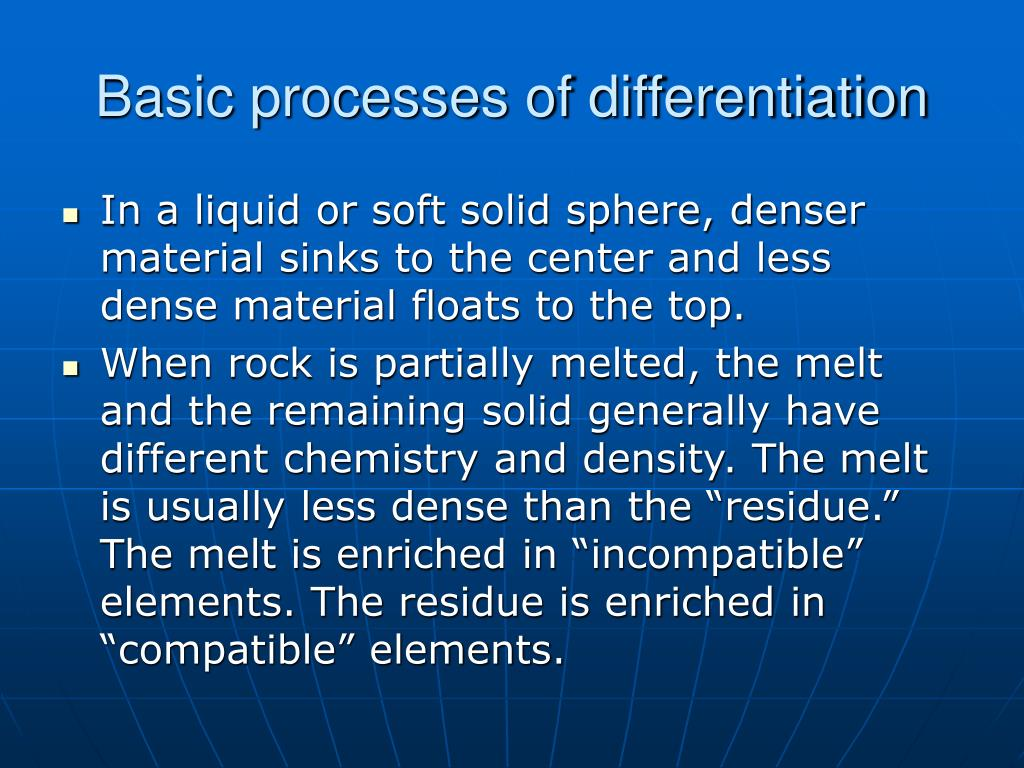 Basic processes of differentiation