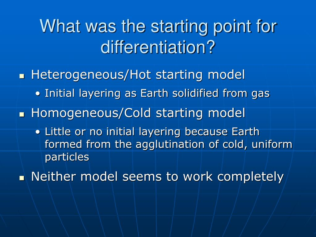 What was the starting point for differentiation?