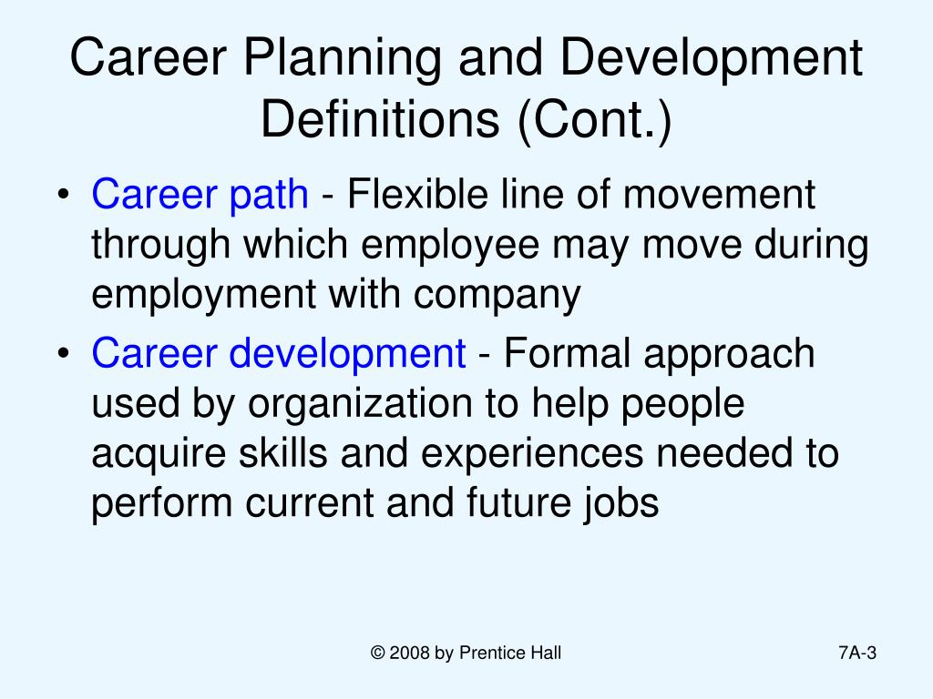 Career Planning and Development Definitions (Cont.)