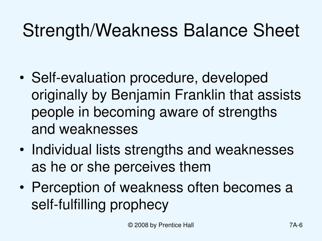 Strength/Weakness Balance Sheet