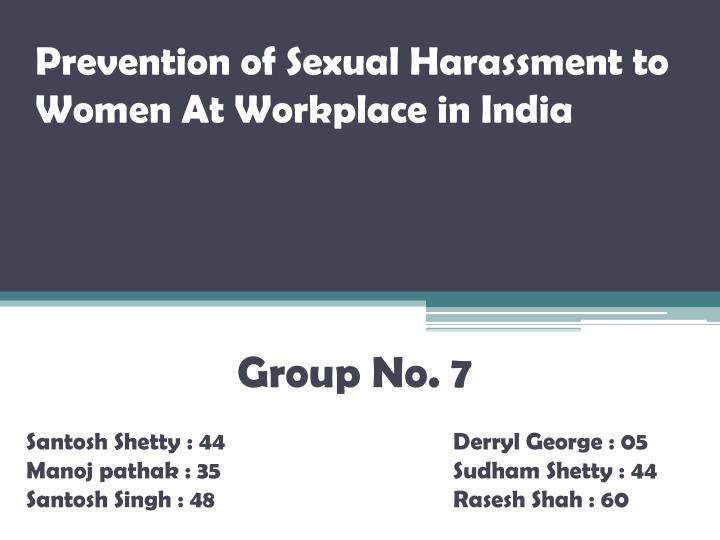 Prevention of sexual harassment to women at workplace in india l.jpg