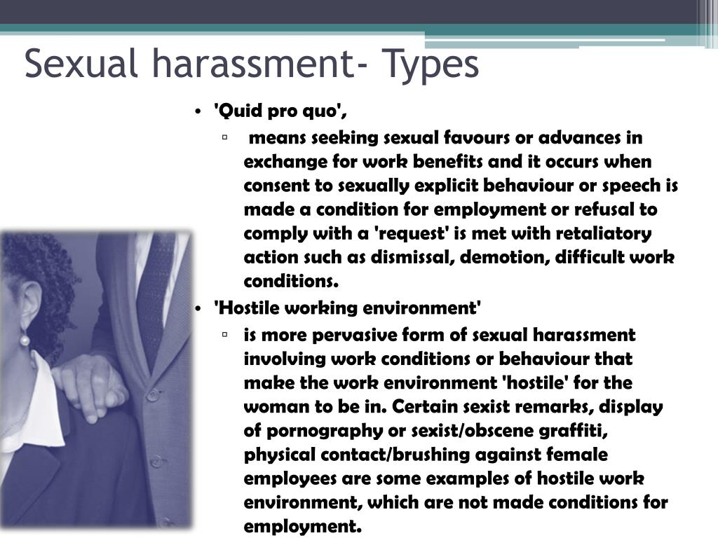 Sexual harassment- Types