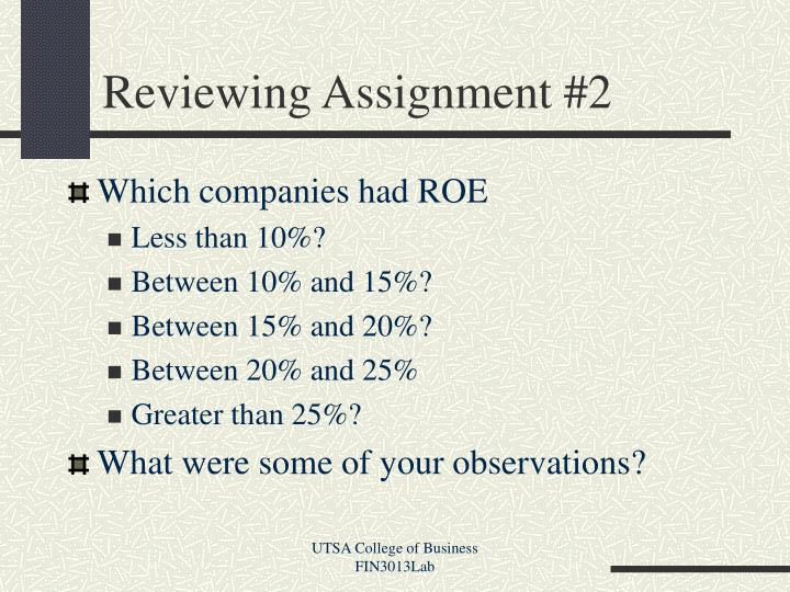 Reviewing assignment 2