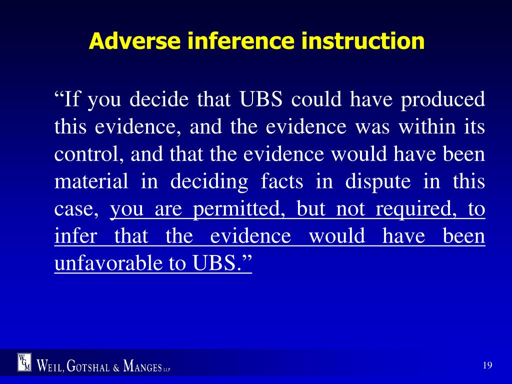 Adverse inference instruction