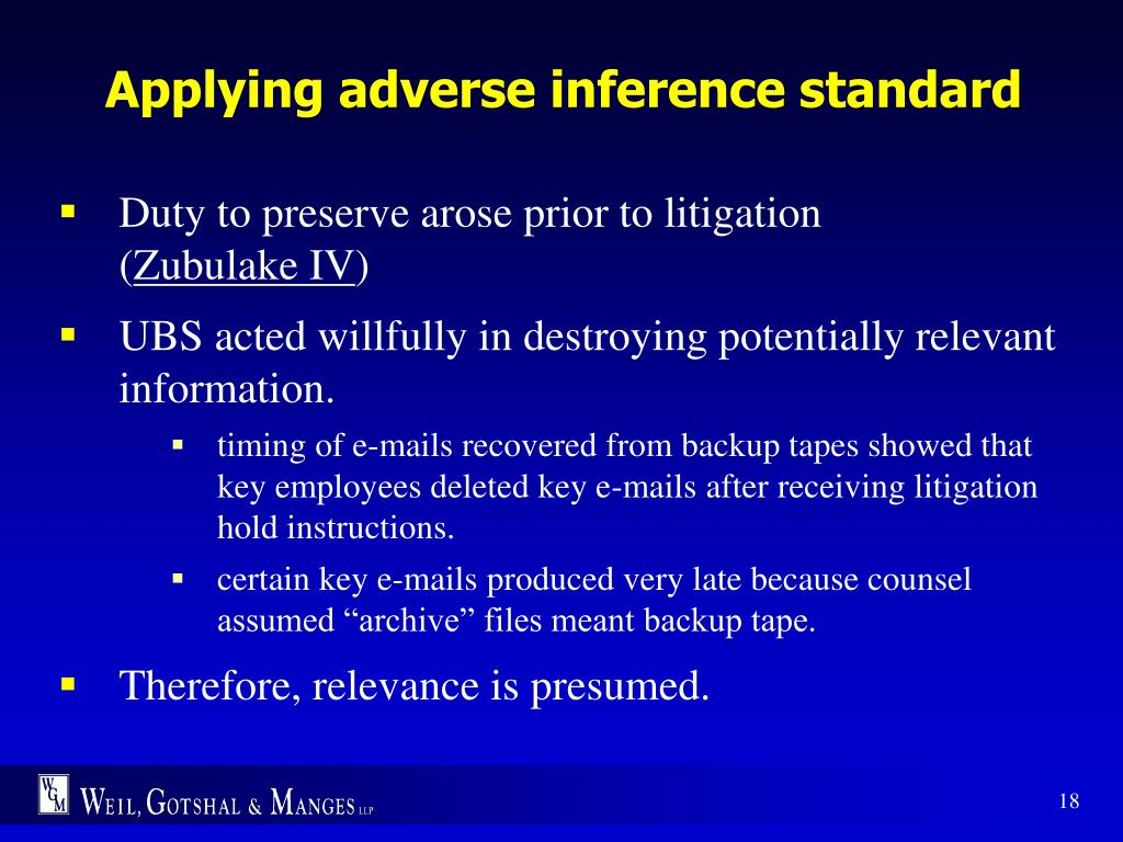 Applying adverse inference standard