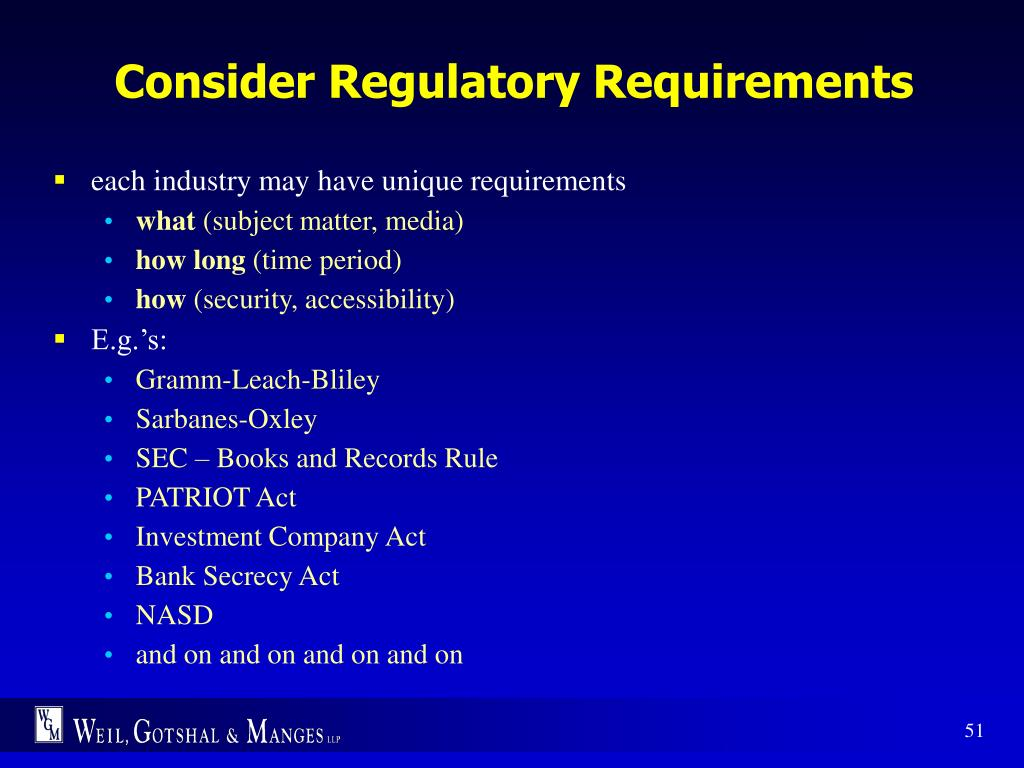 Consider Regulatory Requirements