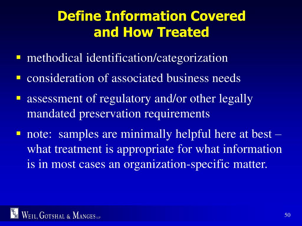 Define Information Covered