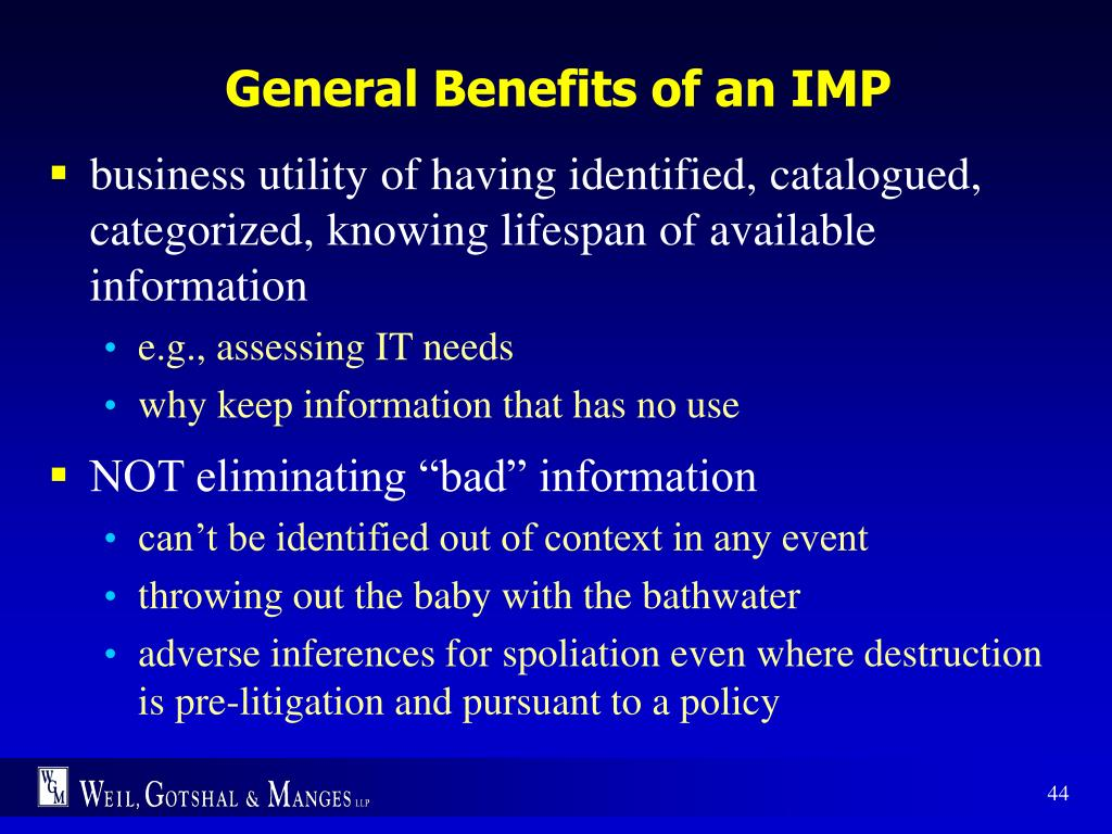 General Benefits of an IMP