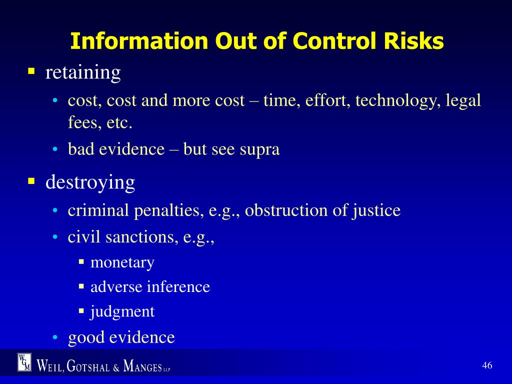 Information Out of Control Risks