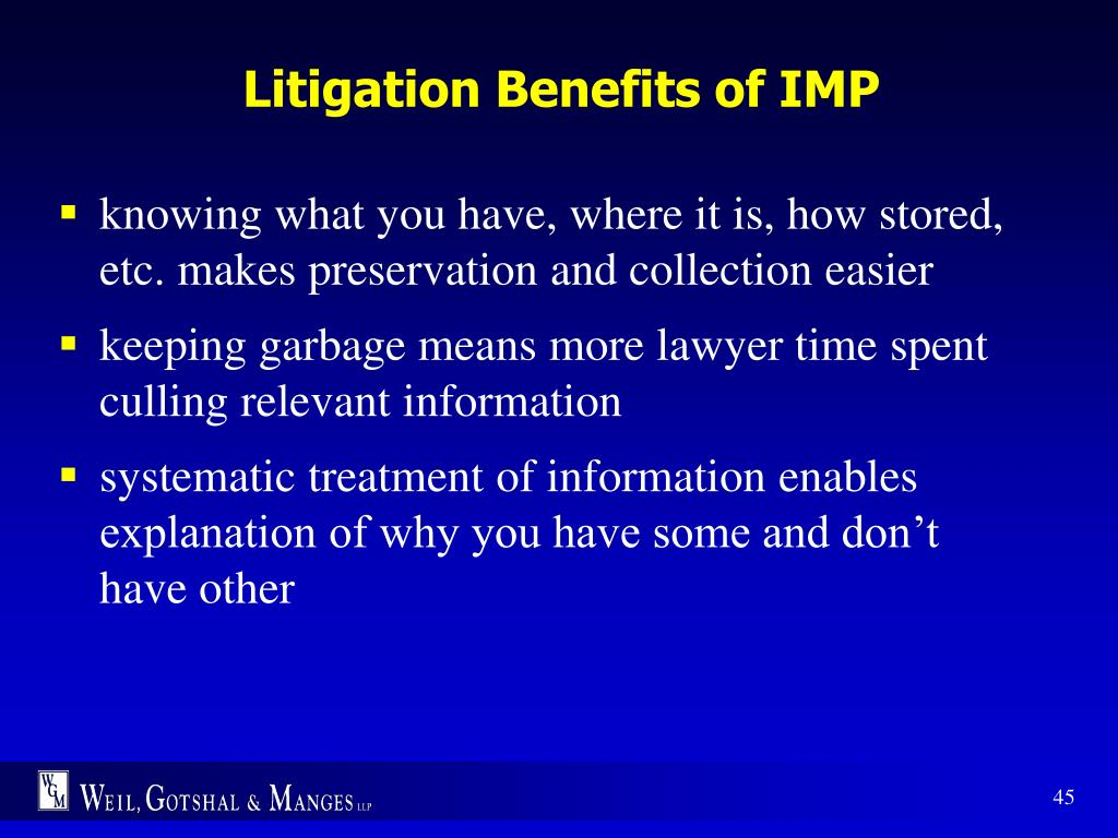 Litigation Benefits of IMP