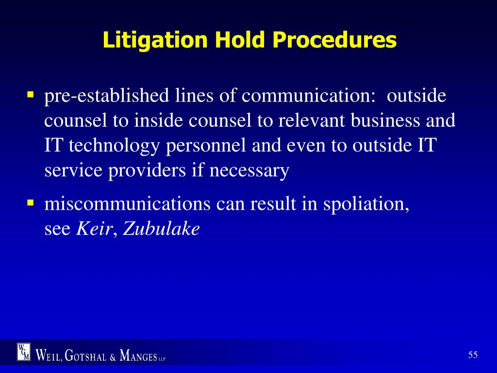 Litigation Hold Procedures