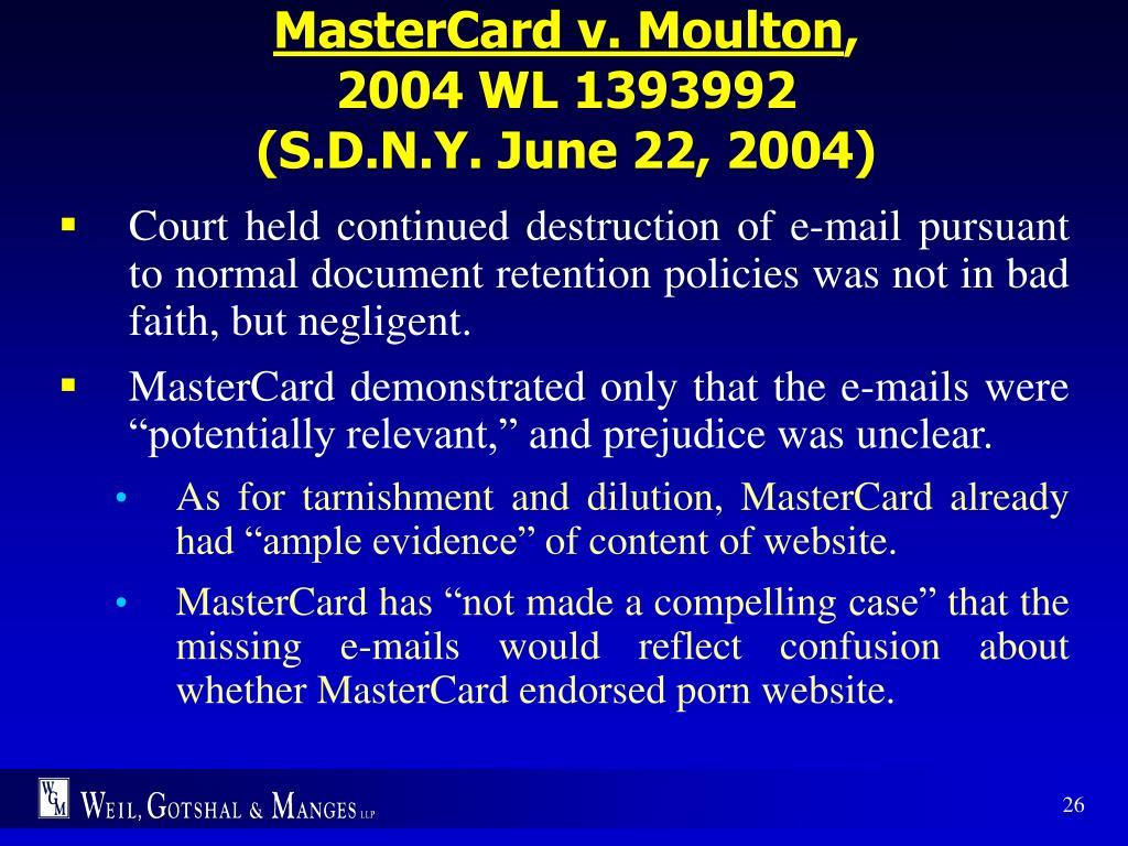 MasterCard v. Moulton